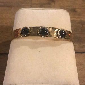 Gold and Black Hammered Bangle Bracelet